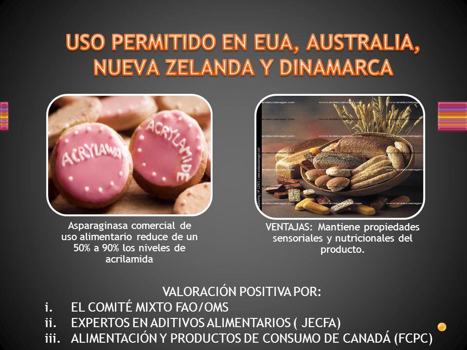 Asparaginasa comercial de uso alimentario reduce de un 50% a 90% los niveles de acrilamida VENTAJAS: Mantiene propiedades sensoriales y nutricionales