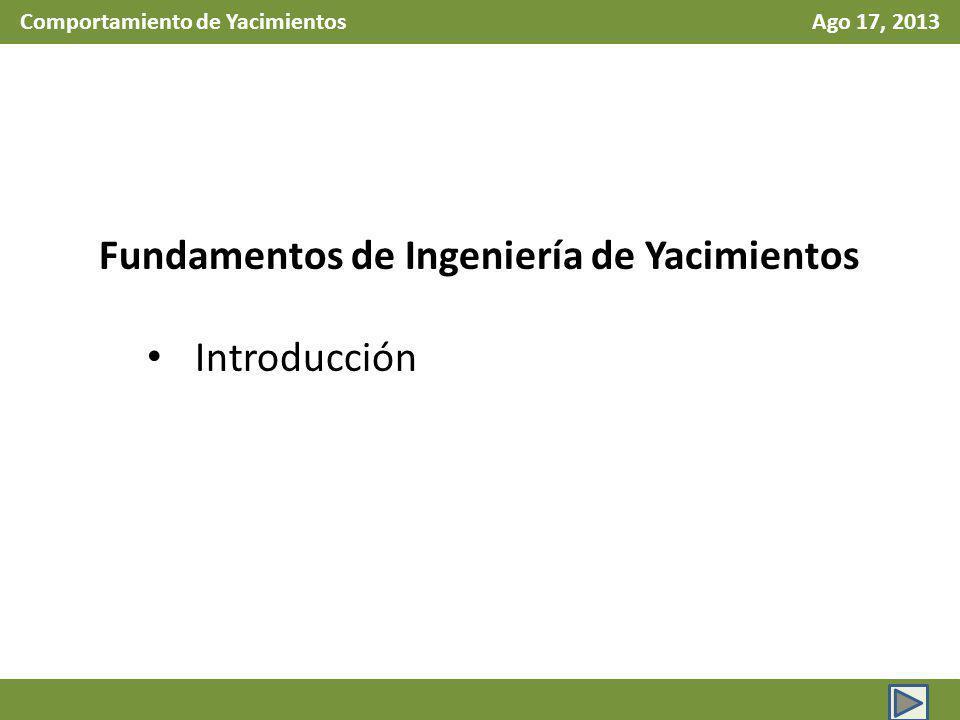 Comportamiento de Yacimientos Ago 17, 2013 Fundamentos de Ingeniería de Yacimientos Introducción
