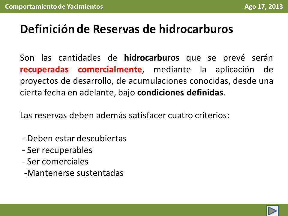 Comportamiento de Yacimientos Ago 17, 2013 Definición de Reservas de hidrocarburos Son las cantidades de hidrocarburos que se prevé serán recuperadas comercialmente, mediante la aplicación de proyectos de desarrollo, de acumulaciones conocidas, desde una cierta fecha en adelante, bajo condiciones definidas.