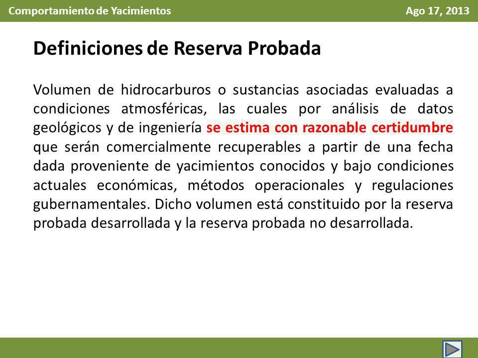 Comportamiento de Yacimientos Ago 17, 2013 Definiciones de Reserva Probada Volumen de hidrocarburos o sustancias asociadas evaluadas a condiciones atm