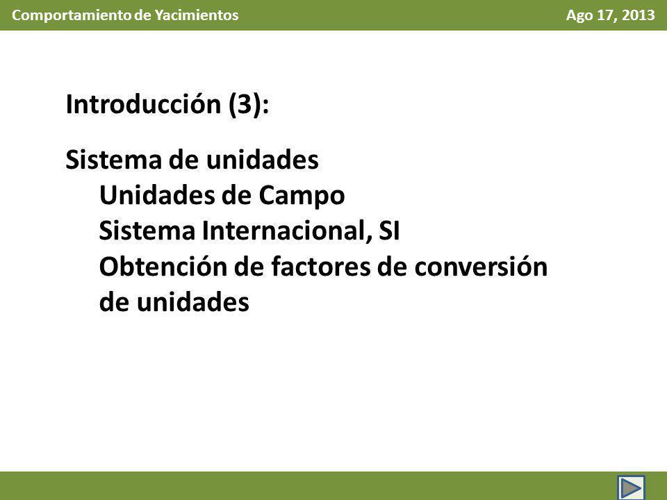 Comportamiento de Yacimientos Ago 17, 2013 Introducción (4): Conceptos de Ingeniería de Yacimientos Definición de medio continuo Presión en el yacimiento Presión del fluido Presión litostática Distribución de presión en el yacimiento