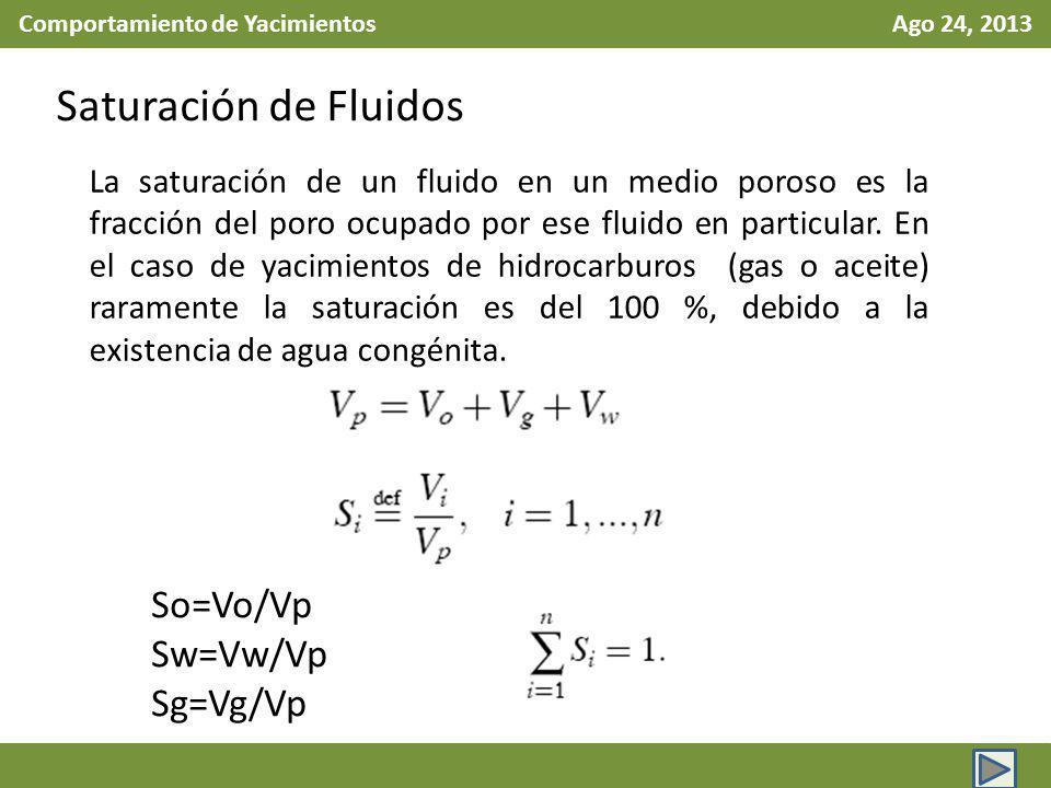 Comportamiento de Yacimientos Ago 24, 2013 Saturación de Fluidos La saturación de un fluido en un medio poroso es la fracción del poro ocupado por ese fluido en particular.