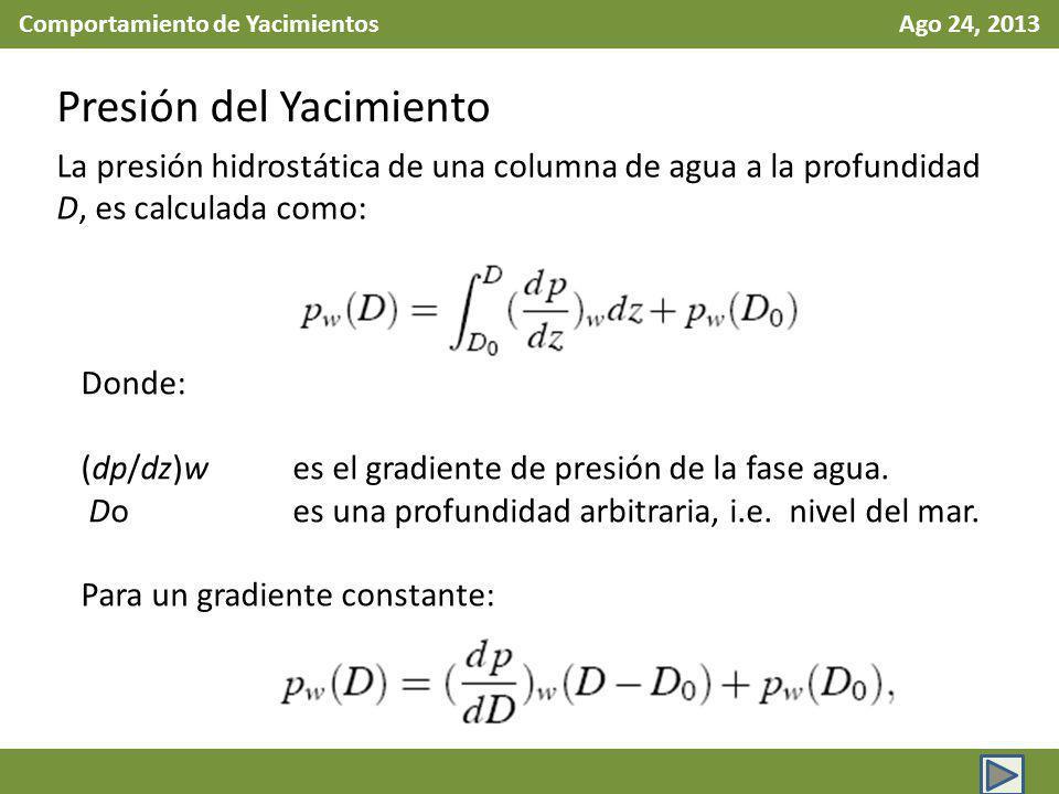 Comportamiento de Yacimientos Ago 24, 2013 Presión del Yacimiento La presión hidrostática de una columna de agua a la profundidad D, es calculada como: Donde: (dp/dz)w es el gradiente de presión de la fase agua.