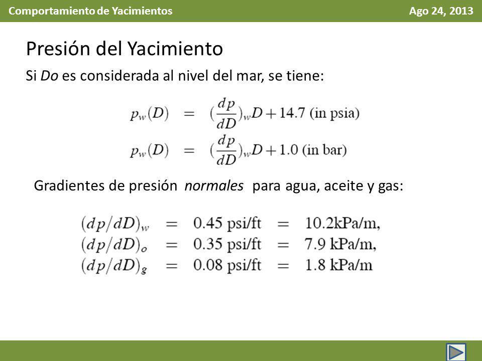 Comportamiento de Yacimientos Ago 24, 2013 Presión del Yacimiento Si Do es considerada al nivel del mar, se tiene: Gradientes de presión normales para agua, aceite y gas: