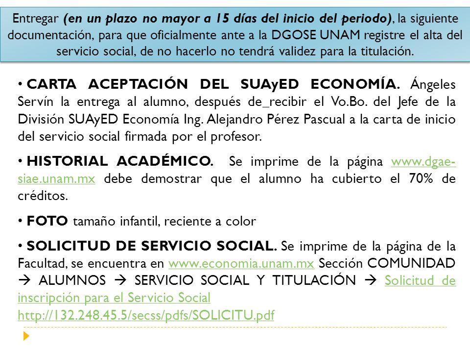 Entregar (en un plazo no mayor a 15 días del inicio del periodo), la siguiente documentación, para que oficialmente ante a la DGOSE UNAM registre el a