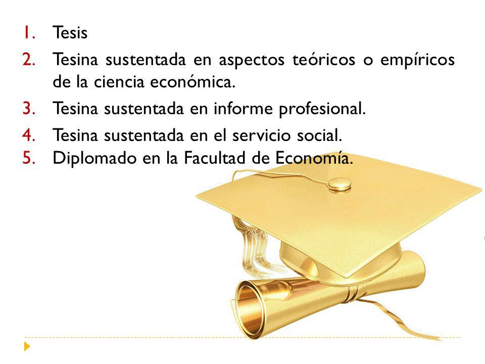 1.Tesis 2.Tesina sustentada en aspectos teóricos o empíricos de la ciencia económica. 3.Tesina sustentada en informe profesional. 4.Tesina sustentada