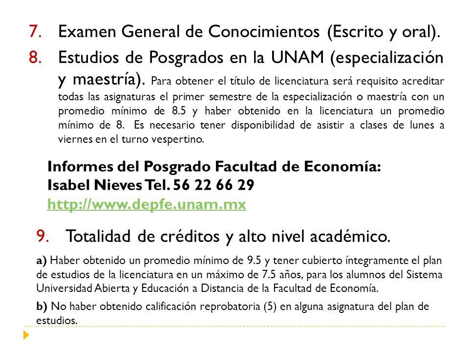 7.Examen General de Conocimientos (Escrito y oral). 8.Estudios de Posgrados en la UNAM (especialización y maestría). Para obtener el título de licenci