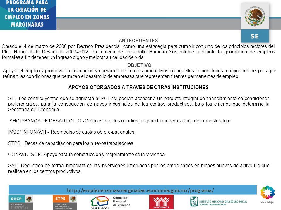 PCEZM. PROGRAMA PARA LA CREACIÓN DE EMPLEO EN ZONAS MARGINADAS http://empleoenzonasmarginadas.economia.gob.mx/programa/ ANTECEDENTES Creado el 4 de ma