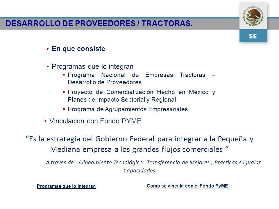 DESARROLLO DE PROVEEDORES / TRACTORAS. En que consiste Programas que lo integran Programa Nacional de Empresas Tractoras – Desarrollo de Proveedores P