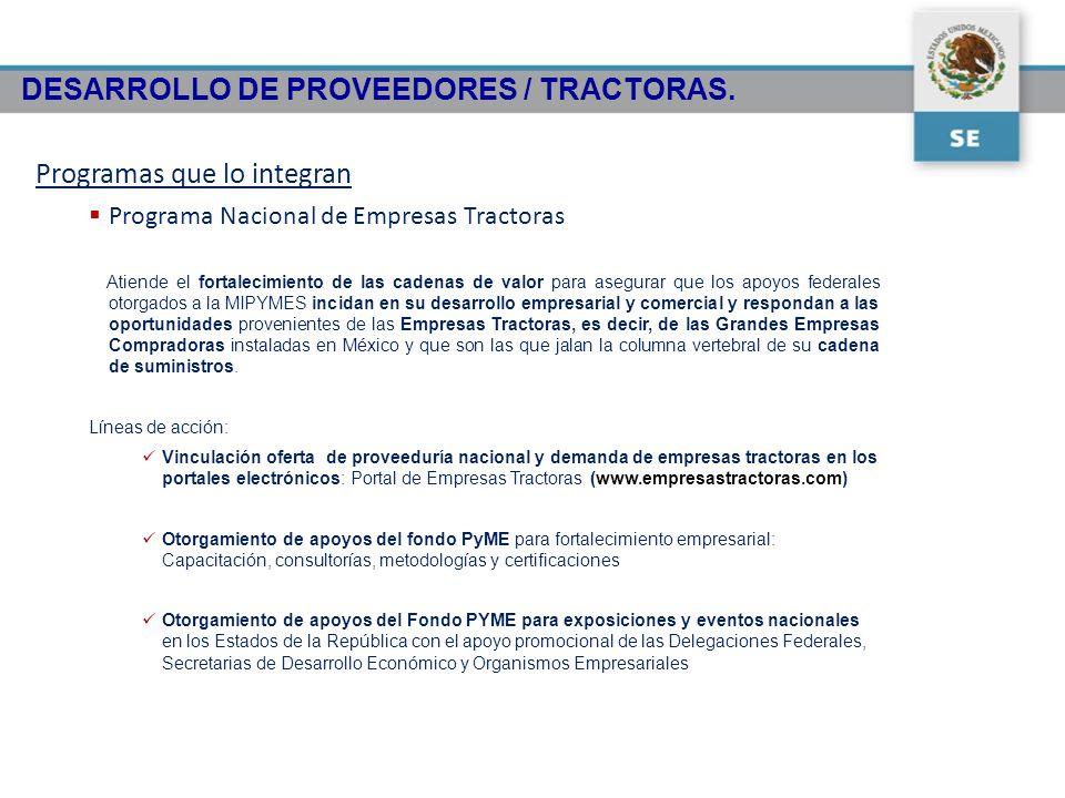 DESARROLLO DE PROVEEDORES / TRACTORAS. Programas que lo integran Programa Nacional de Empresas Tractoras Atiende el fortalecimiento de las cadenas de