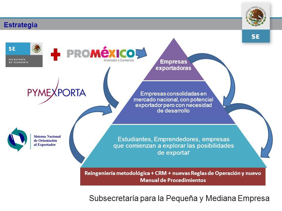 Subsecretaría para la Pequeña y Mediana Empresa Empresas exportadoras Empresas consolidadas en mercado nacional, con potencial exportador pero con nec
