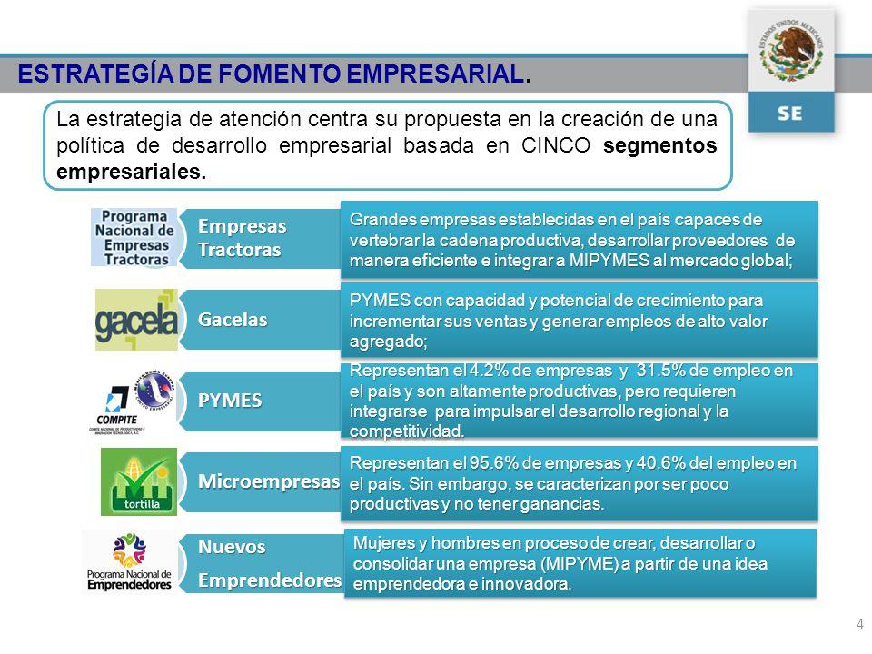 La estrategia de atención centra su propuesta en la creación de una política de desarrollo empresarial basada en CINCO segmentos empresariales. Grande