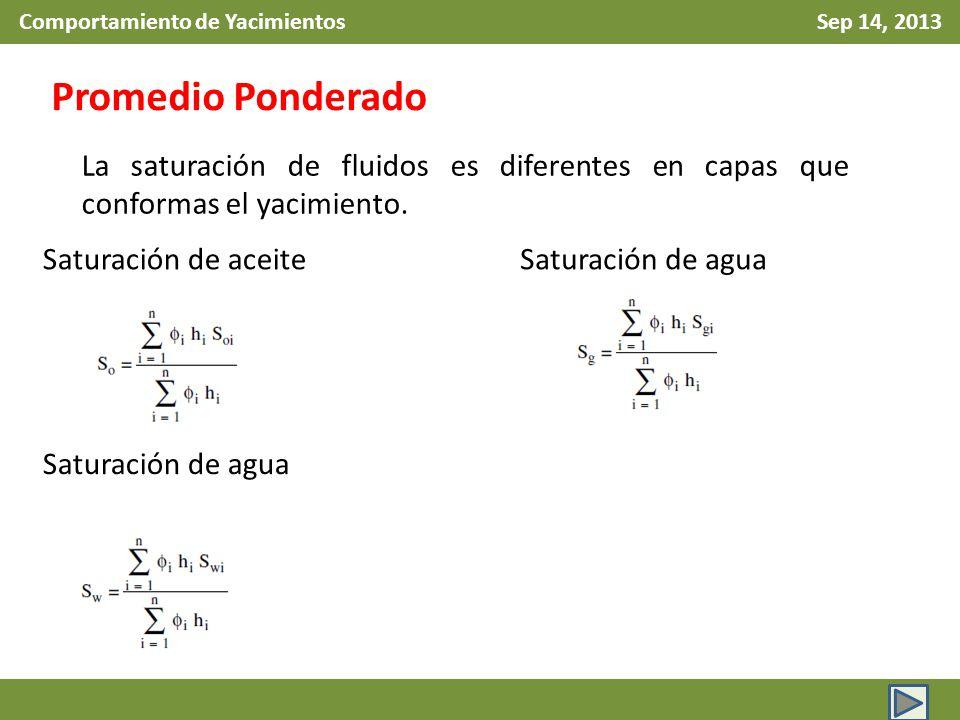 Comportamiento de Yacimientos Sep 14, 2013 Promedio Ponderado Saturación de aceite Saturación de agua La saturación de fluidos es diferentes en capas