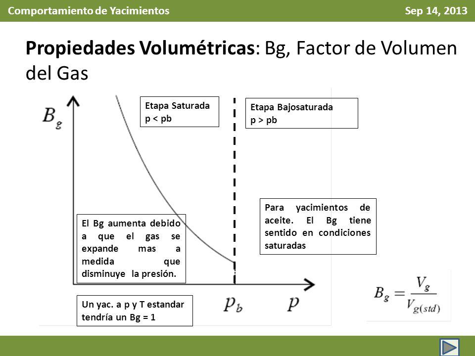 Comportamiento de Yacimientos Sep 14, 2013 Propiedades Volumétricas: Bg, Factor de Volumen del Gas Para yacimientos de aceite. El Bg tiene sentido en