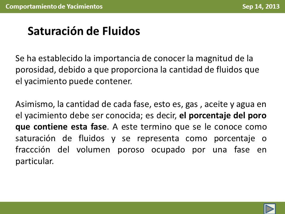 Comportamiento de Yacimientos Sep 14, 2013 Saturación de Fluidos Se ha establecido la importancia de conocer la magnitud de la porosidad, debido a que
