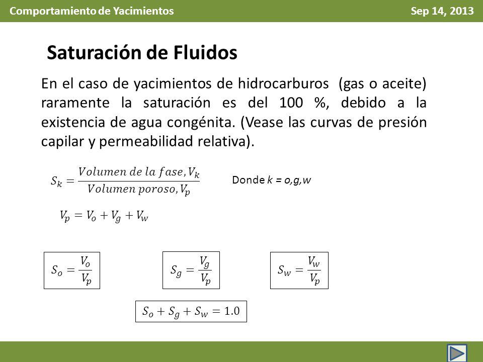 Comportamiento de Yacimientos Sep 14, 2013 Factor de Volumen Total: Nótese que arriba de la presión de saturación, no existe gas libre.
