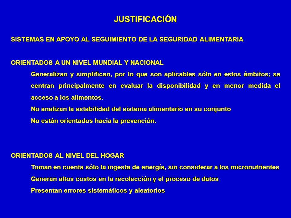 JUSTIFICACIÓN SISTEMAS EN APOYO AL SEGUIMIENTO DE LA SEGURIDAD ALIMENTARIA ORIENTADOS A UN NIVEL MUNDIAL Y NACIONAL Generalizan y simplifican, por lo