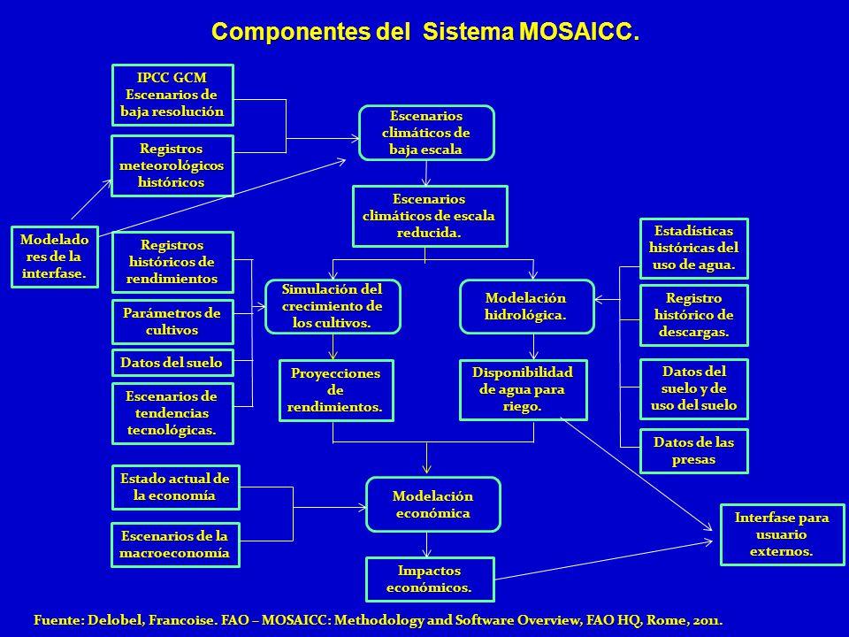 Componentes del Sistema MOSAICC. IPCC GCM Escenarios de baja resolución Registros meteorológicos históricos Registros históricos de rendimientos Parám
