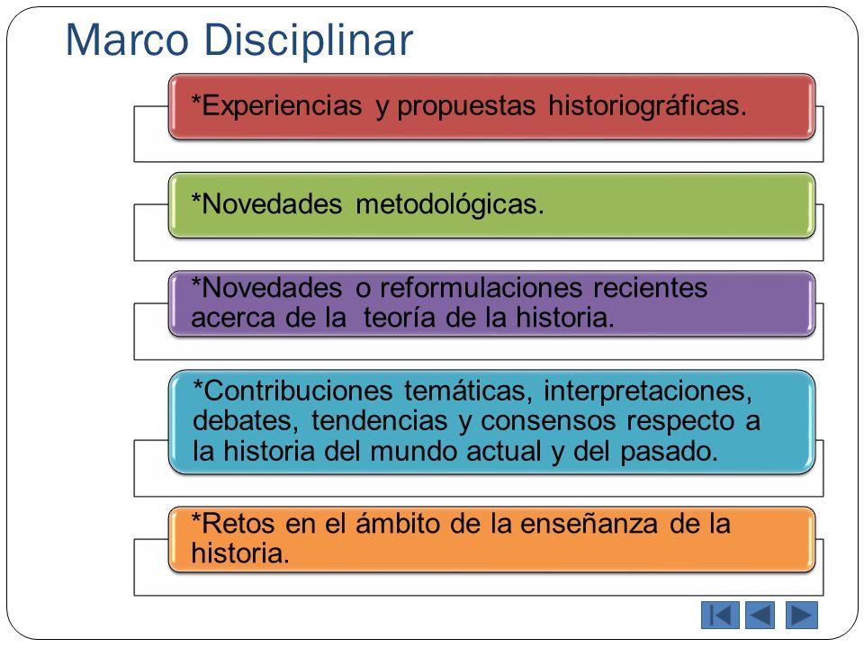 Marco Disciplinar *Experiencias y propuestas historiográficas.*Novedades metodológicas. *Novedades o reformulaciones recientes acerca de la teoría de