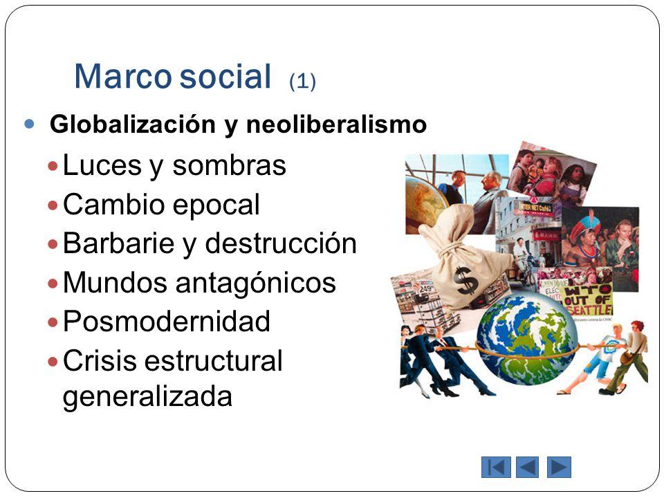 Marco social (1) Globalización y neoliberalismo Luces y sombras Cambio epocal Barbarie y destrucción Mundos antagónicos Posmodernidad Crisis estructur
