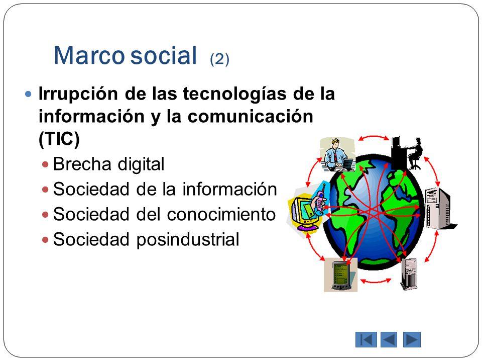Marco social (2) Irrupción de las tecnologías de la información y la comunicación (TIC) Brecha digital Sociedad de la información Sociedad del conocim
