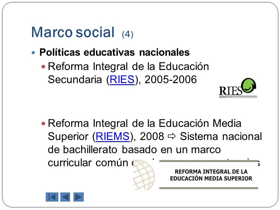 Marco social (4) Políticas educativas nacionales Reforma Integral de la Educación Secundaria (RIES), 2005-2006RIES Reforma Integral de la Educación Me