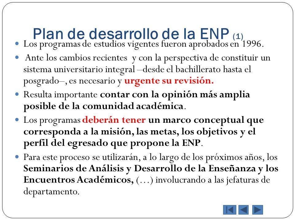 Plan de desarrollo de la ENP (1) Los programas de estudios vigentes fueron aprobados en 1996. Ante los cambios recientes y con la perspectiva de const