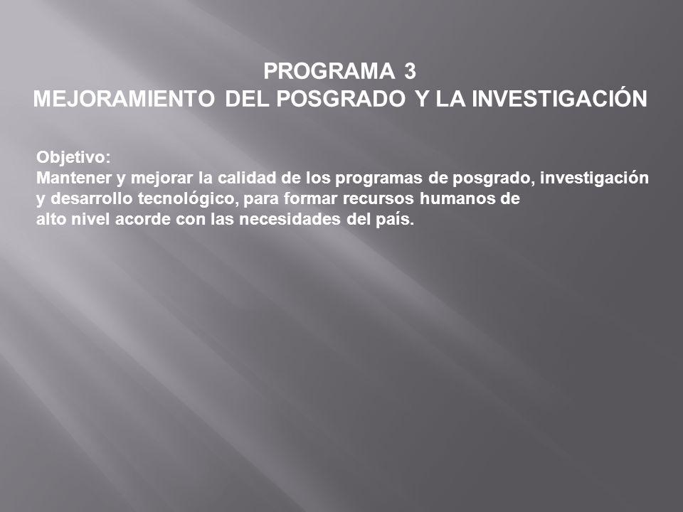 PROGRAMA 3 MEJORAMIENTO DEL POSGRADO Y LA INVESTIGACIÓN Objetivo: Mantener y mejorar la calidad de los programas de posgrado, investigación y desarrol