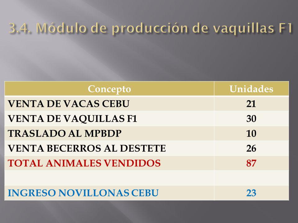ConceptoUnidades VENTA DE VACAS CEBU21 VENTA DE VAQUILLAS F130 TRASLADO AL MPBDP10 VENTA BECERROS AL DESTETE26 TOTAL ANIMALES VENDIDOS87 INGRESO NOVIL