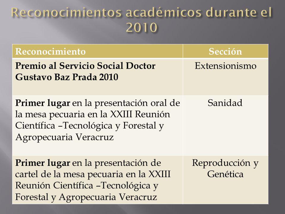 ReconocimientoSección Premio al Servicio Social Doctor Gustavo Baz Prada 2010 Extensionismo Primer lugar en la presentación oral de la mesa pecuaria e