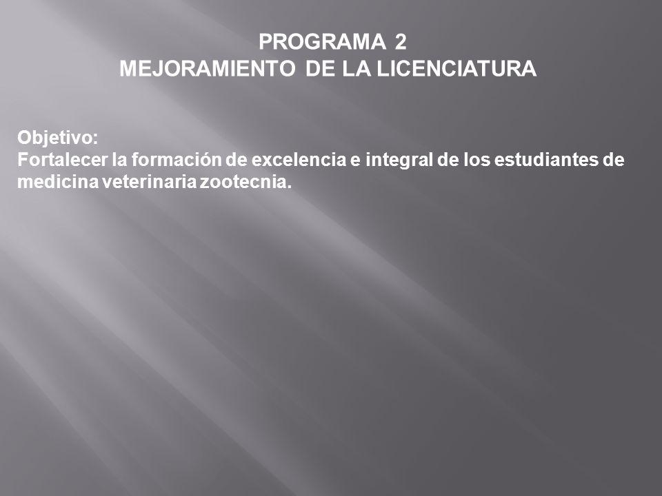 PROGRAMA 2 MEJORAMIENTO DE LA LICENCIATURA Objetivo: Fortalecer la formación de excelencia e integral de los estudiantes de medicina veterinaria zoote