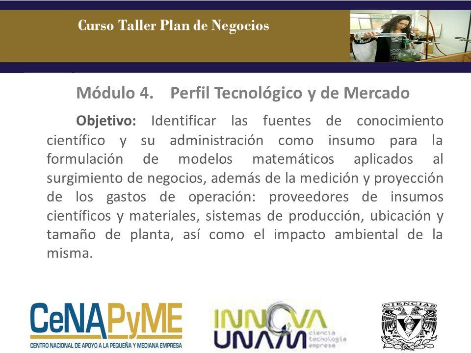 Módulo 4.Perfil Tecnológico y de Mercado Objetivo: Identificar las fuentes de conocimiento científico y su administración como insumo para la formulac