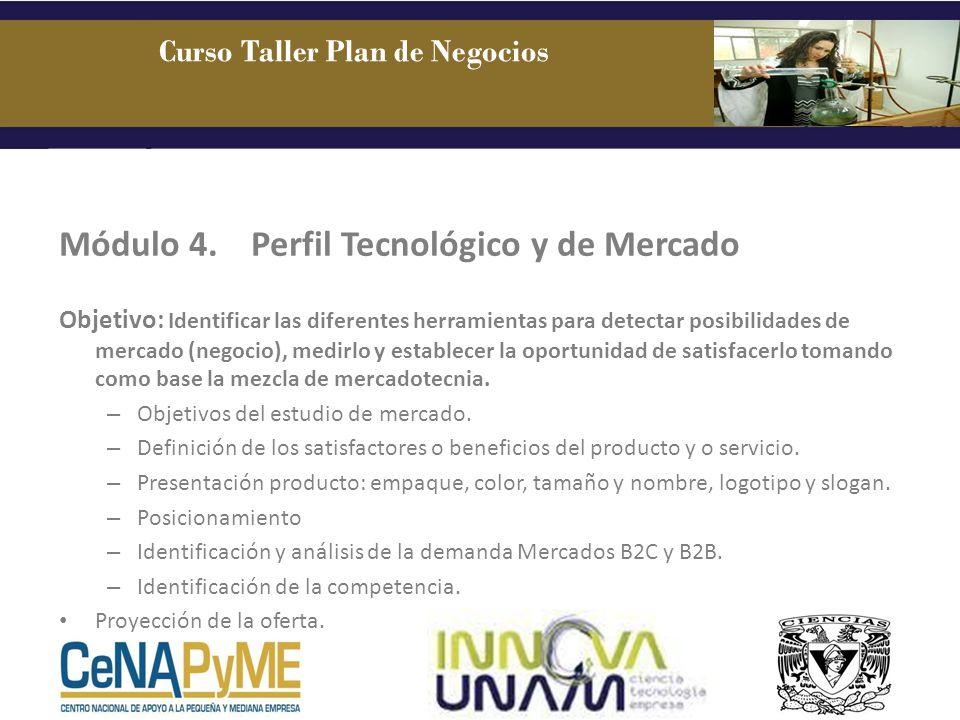 Módulo 4.Perfil Tecnológico y de Mercado Objetivo: Identificar las diferentes herramientas para detectar posibilidades de mercado (negocio), medirlo y