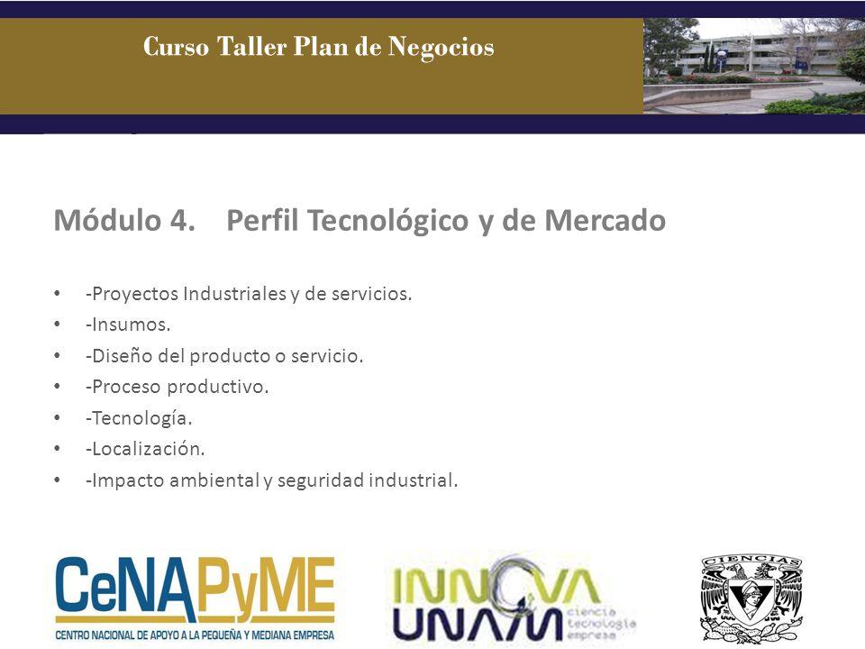 Módulo 4. Perfil Tecnológico y de Mercado -Proyectos Industriales y de servicios. -Insumos. -Diseño del producto o servicio. -Proceso productivo. -Tec