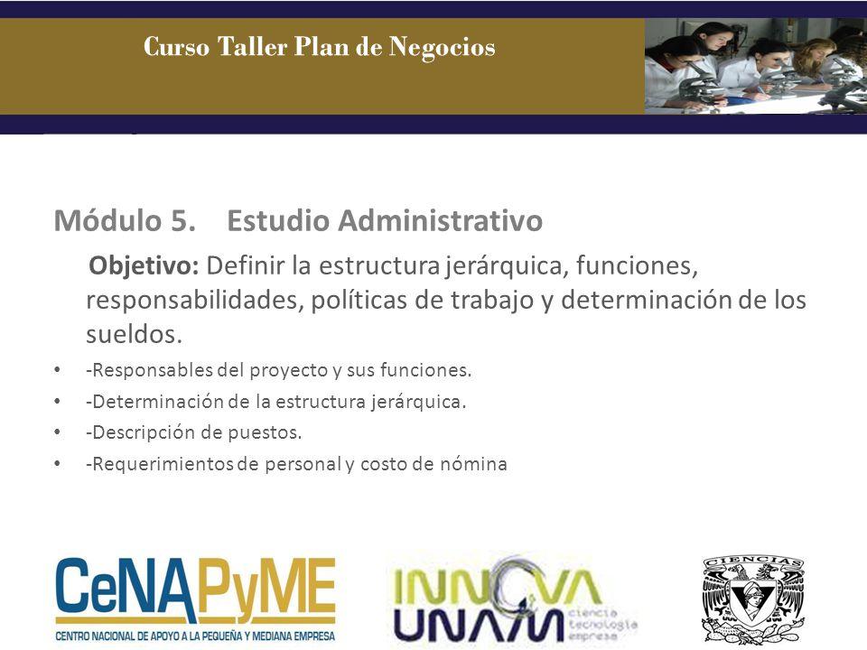 Módulo 5.Estudio Administrativo Objetivo: Definir la estructura jerárquica, funciones, responsabilidades, políticas de trabajo y determinación de los