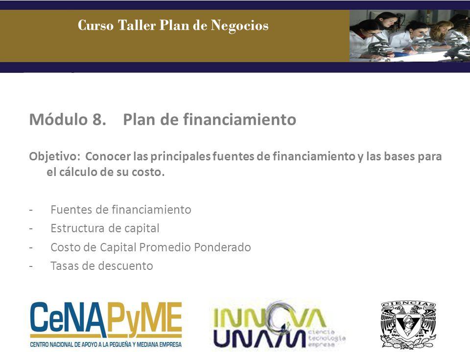 Módulo 8.Plan de financiamiento Objetivo: Conocer las principales fuentes de financiamiento y las bases para el cálculo de su costo. - Fuentes de fina