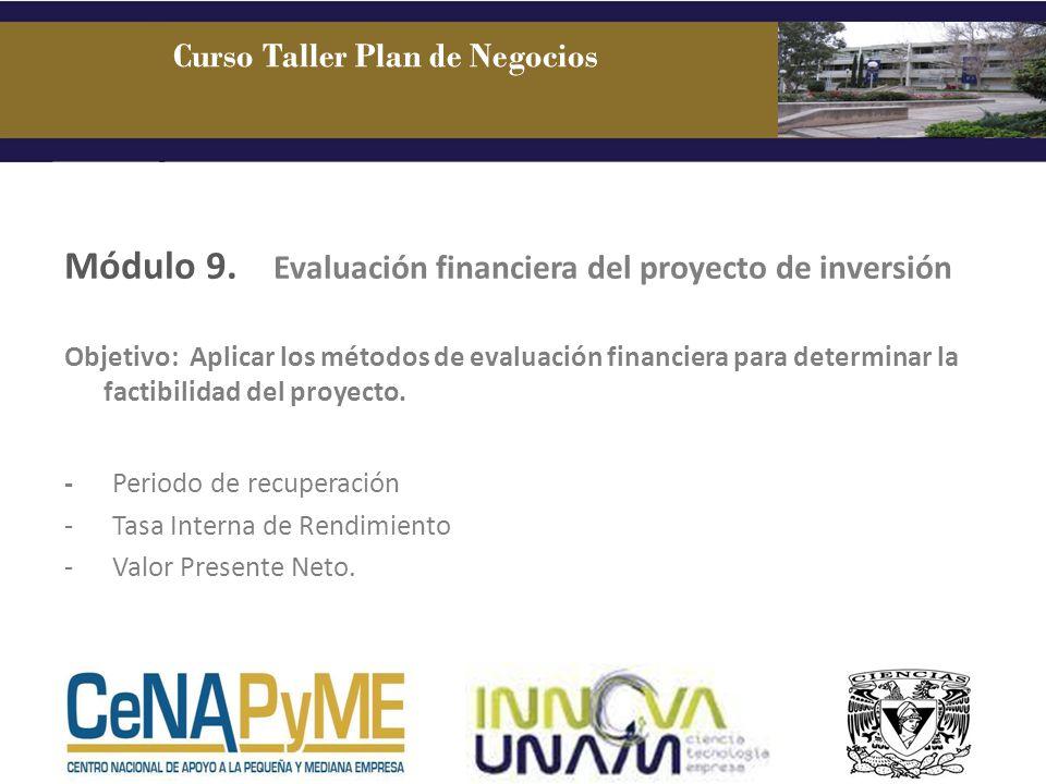 Módulo 9. Evaluación financiera del proyecto de inversión Objetivo: Aplicar los métodos de evaluación financiera para determinar la factibilidad del p