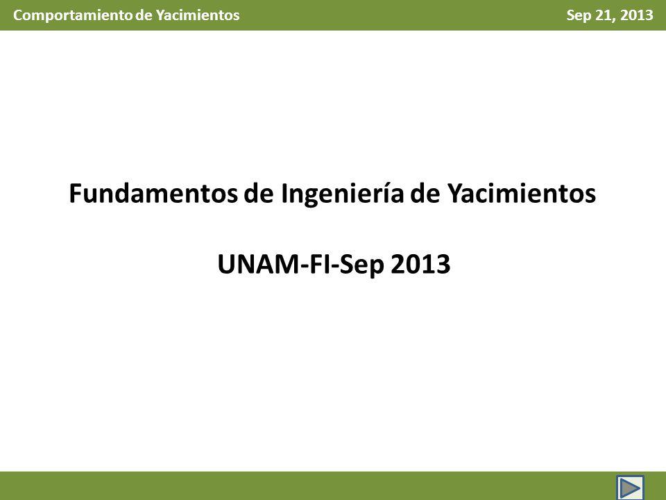 Comportamiento de Yacimientos Sep 21, 2013 Fundamentos de Ingeniería de Yacimientos UNAM-FI-Sep 2013