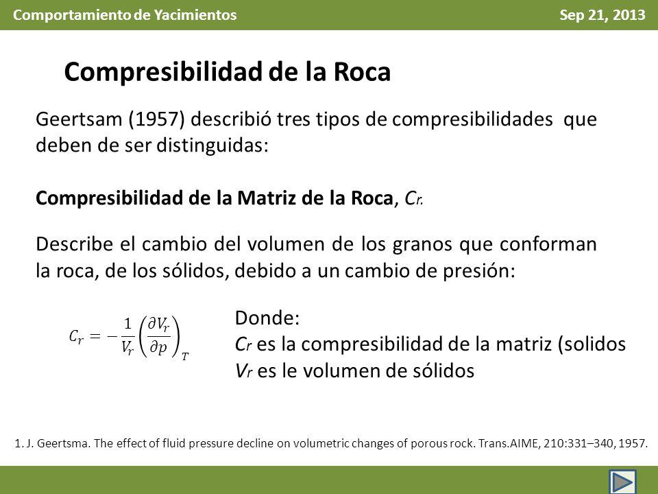 Comportamiento de Yacimientos Sep 21, 2013 Compresibilidad de la Roca Geertsam (1957) describió tres tipos de compresibilidades que deben de ser disti