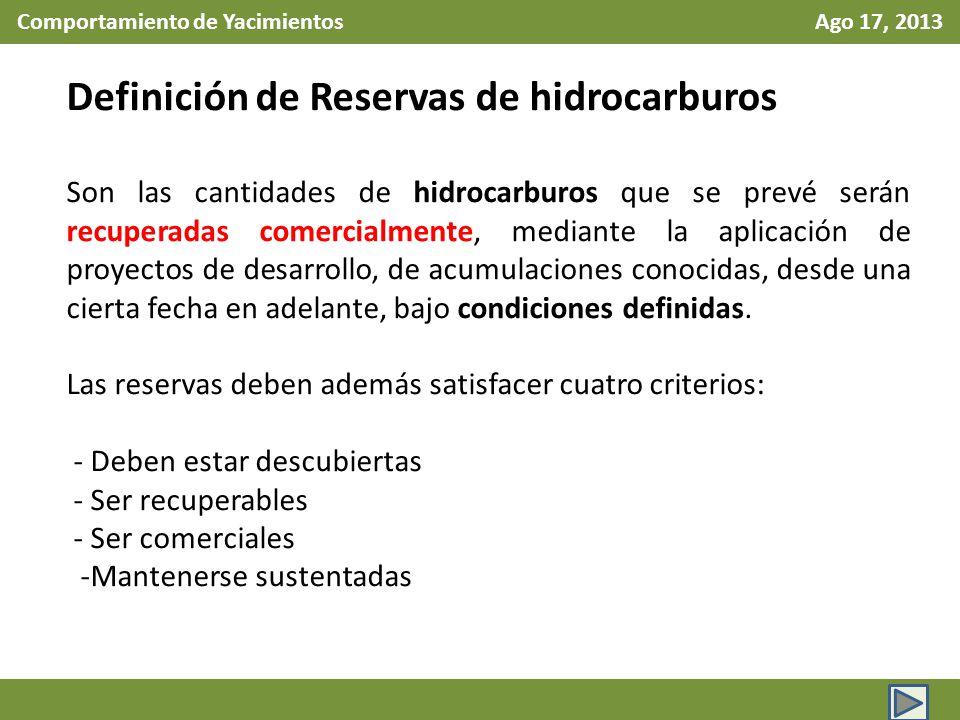 Comportamiento de Yacimientos Ago 17, 2013 Definición de Reservas de hidrocarburos Son las cantidades de hidrocarburos que se prevé serán recuperadas