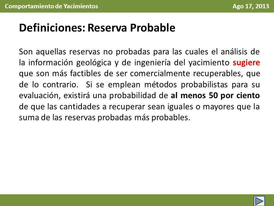 Comportamiento de Yacimientos Ago 17, 2013 Definiciones: Reserva Probable Son aquellas reservas no probadas para las cuales el análisis de la informac