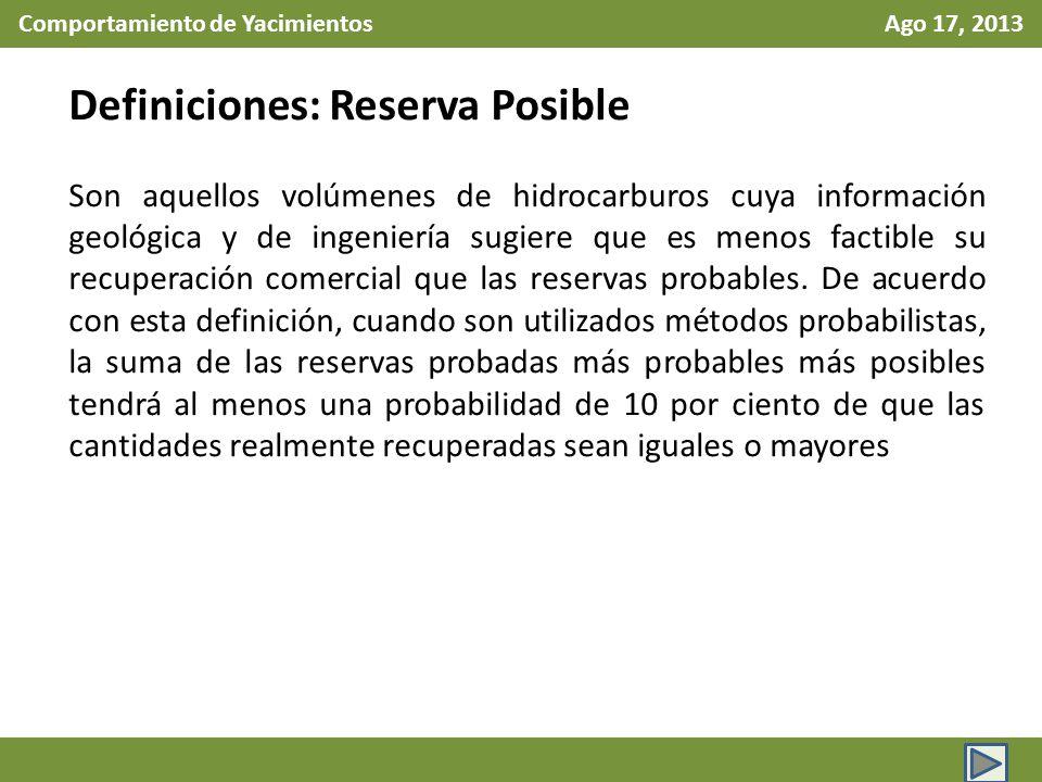 Comportamiento de Yacimientos Ago 17, 2013 Definiciones: Reserva Posible Son aquellos volúmenes de hidrocarburos cuya información geológica y de ingen