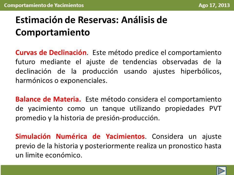 Comportamiento de Yacimientos Ago 17, 2013 Estimación de Reservas: Análisis de Comportamiento Curvas de Declinación. Este método predice el comportami