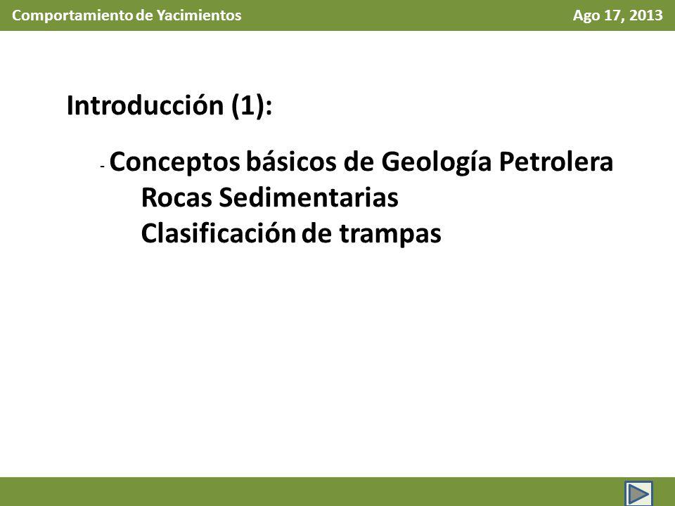 Comportamiento de Yacimientos Ago 17, 2013 Introducción (2): Recursos y Reservas de Hidrocarburos Definición de recurso petrolero Definición de Reservas Reservas Probada Reserva Probable Reserva Posible Reserva 1P, 2P 3P Estimación de Reservas