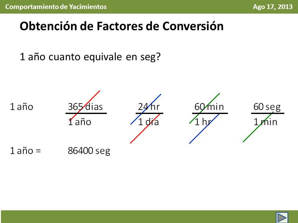 Comportamiento de Yacimientos Ago 17, 2013 Obtención de Factores de Conversión 1 año cuanto equivale en seg?