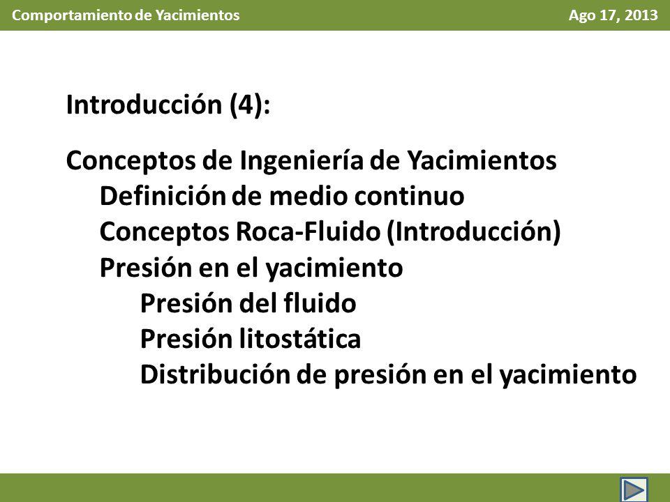 Comportamiento de Yacimientos Ago 17, 2013 Introducción (4): Conceptos de Ingeniería de Yacimientos Definición de medio continuo Conceptos Roca-Fluido