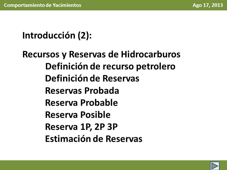 Comportamiento de Yacimientos Ago 17, 2013 Introducción (2): Recursos y Reservas de Hidrocarburos Definición de recurso petrolero Definición de Reserv