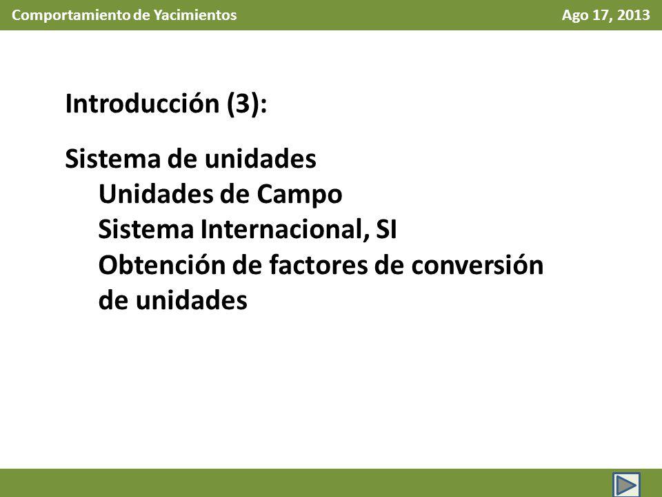 Comportamiento de Yacimientos Ago 17, 2013 Introducción (3): Sistema de unidades Unidades de Campo Sistema Internacional, SI Obtención de factores de