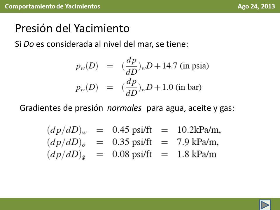 Comportamiento de Yacimientos Ago 24, 2013 Presión del Yacimiento Si Do es considerada al nivel del mar, se tiene: Gradientes de presión normales para
