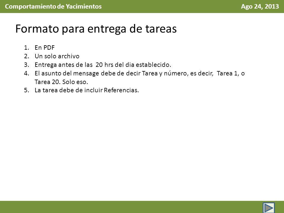 Comportamiento de Yacimientos Ago 24, 2013 Formato para entrega de tareas 1.En PDF 2.Un solo archivo 3.Entrega antes de las 20 hrs del dia establecido